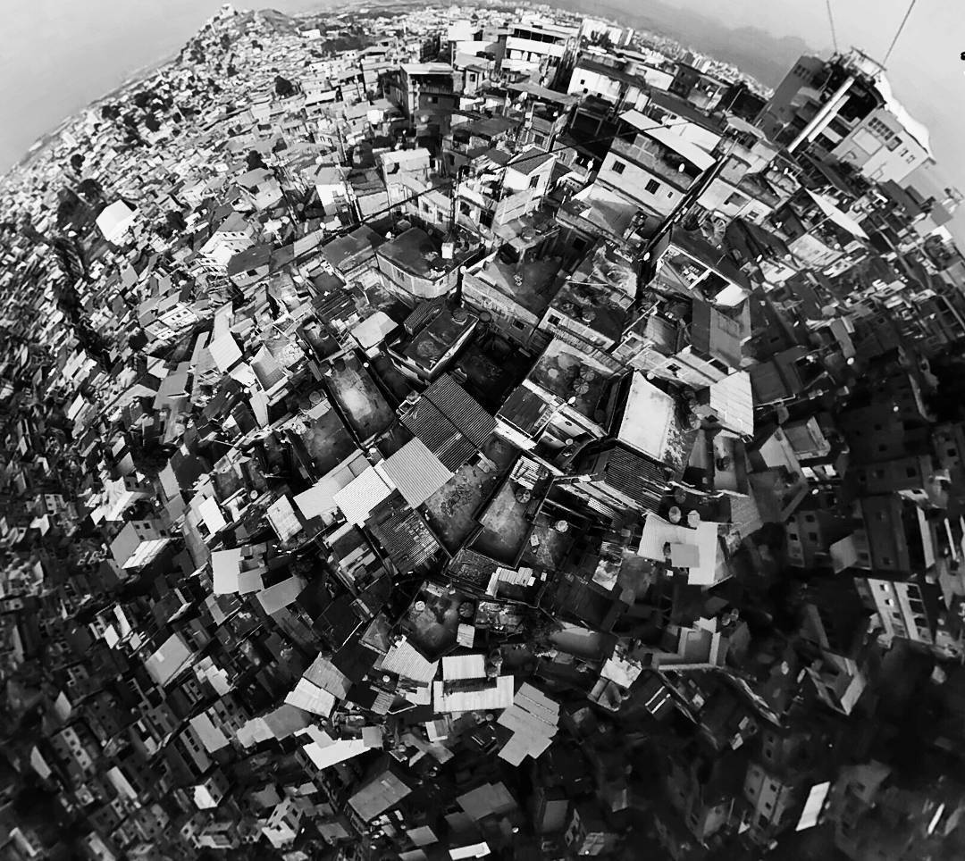 Complexo do Alemão seen from the cable car shot in 360-degree spherical video
