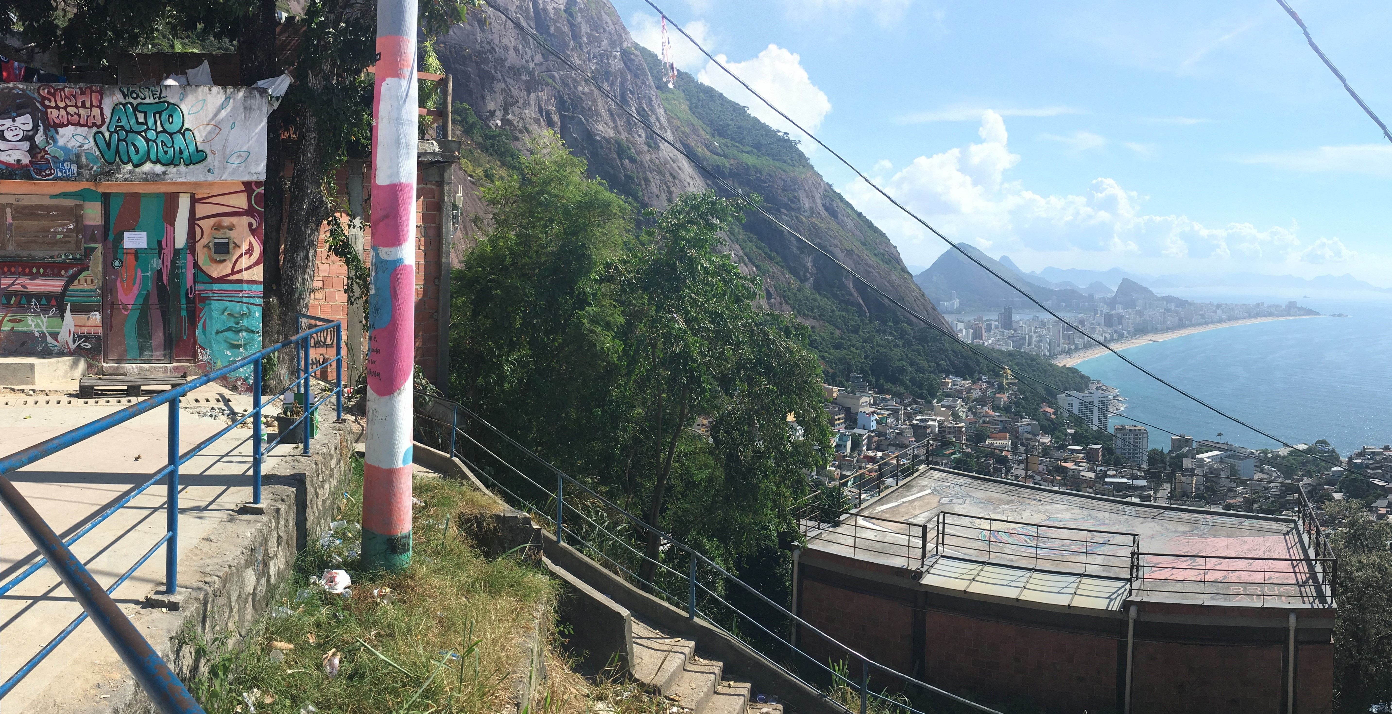 View from the top of Vidigal favela - Ipanema beach on the background