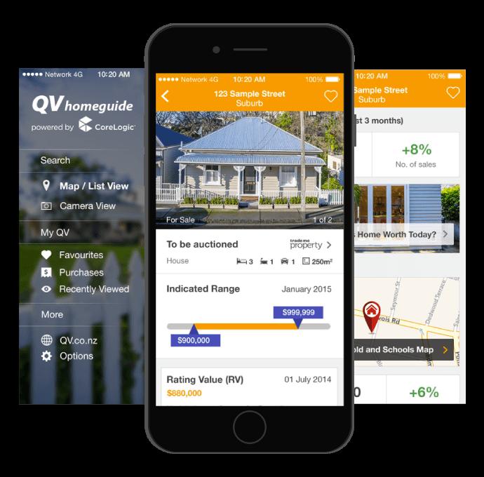 Screenshots of the QV Homeguide app
