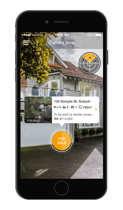 Screenshot of the Camera view in the QV Homeguide app