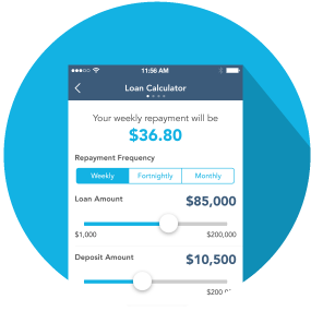 Screenshot of the Loan Calculator in the oneCar app