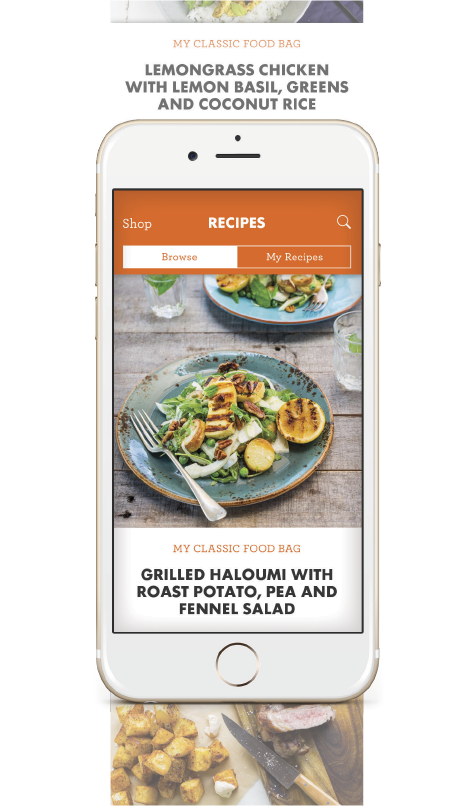 My Food Bag app 'Recipes' screen