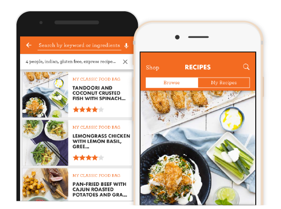 Preview screens of the My Food Bag app