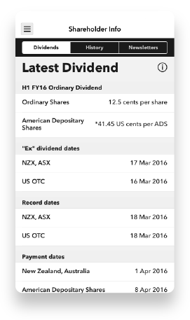 Screenshot of the 'Latest Dividend' screen of the Spark Investor Centre app