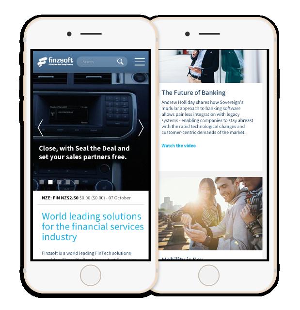 Screenshot of the Finzsoft responsive website layout on a phone