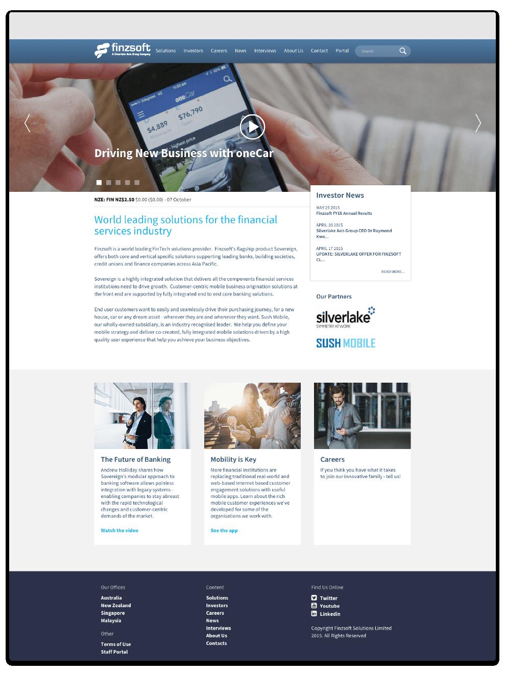 Screenshot of the homepage of the Finzsoft responsive website