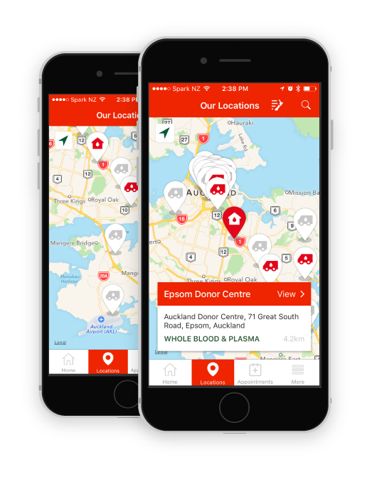 Screenshot of the map with a location selected in the NZ Blood Service app