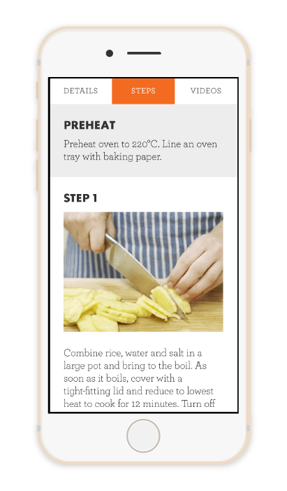 Steps of a recipe in the My Food Bag app