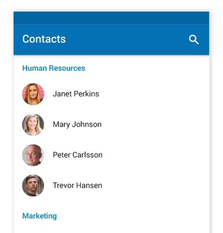 People in the contact list