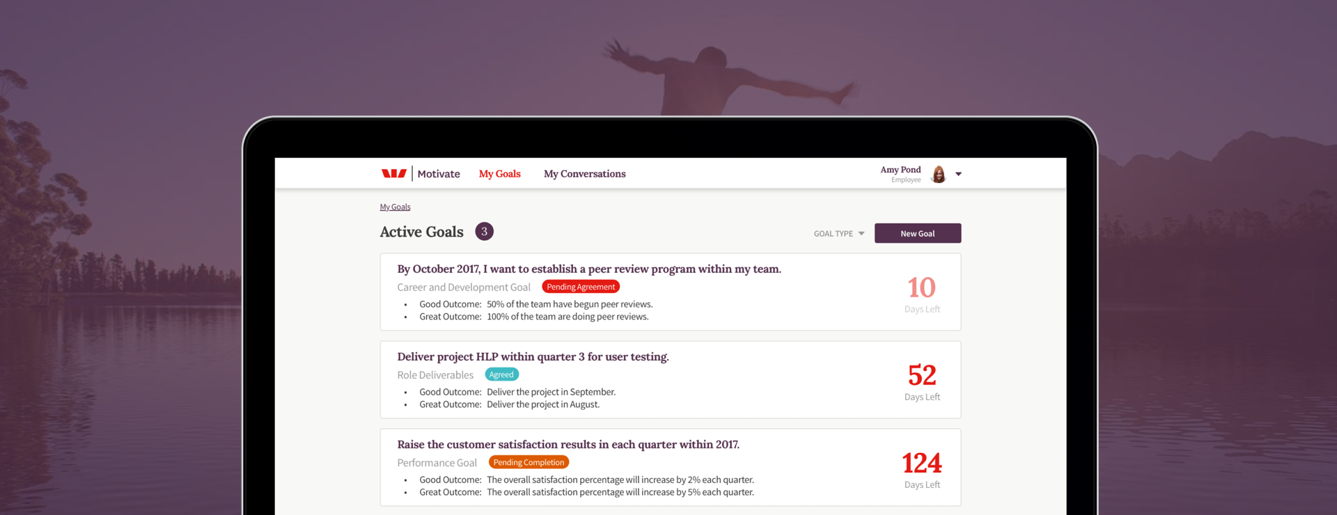 Motivate app opened showing active goals