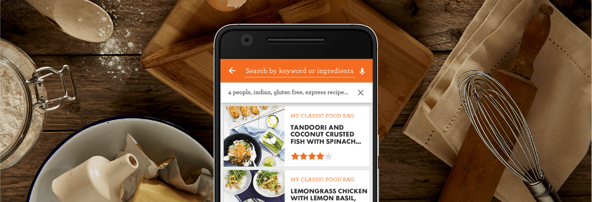 phone screen with different food recipes
