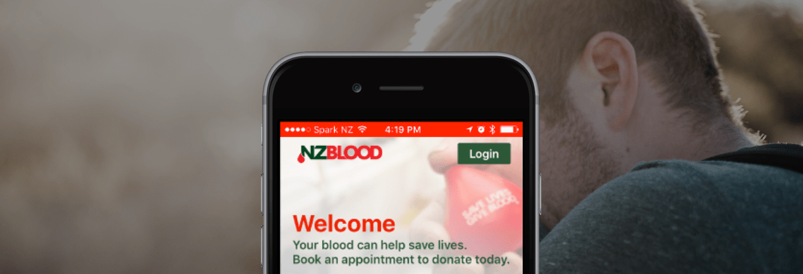 NZ blood bank app on mobile screen