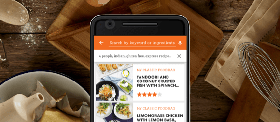 Phone screen with different recipes and food pictures