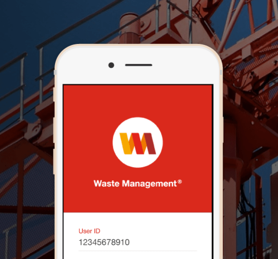 Waste Management App on a mobile screen