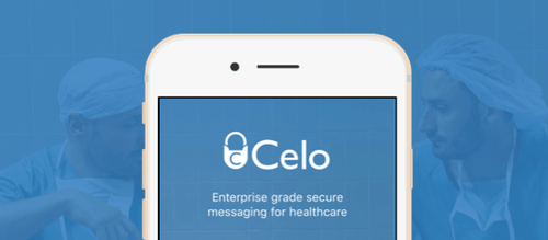 Celo banner on a mobile screen with blue banner background