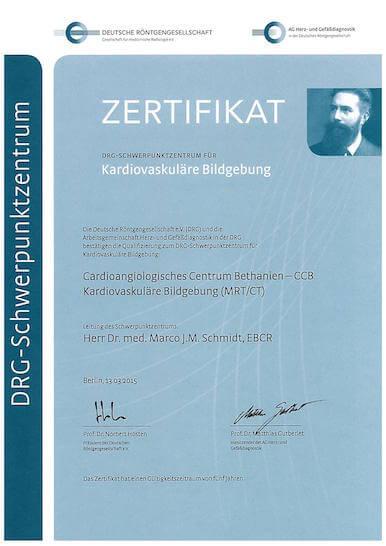 Zertifikat DRG Schwerpunktzentrum Herz-CT CCB