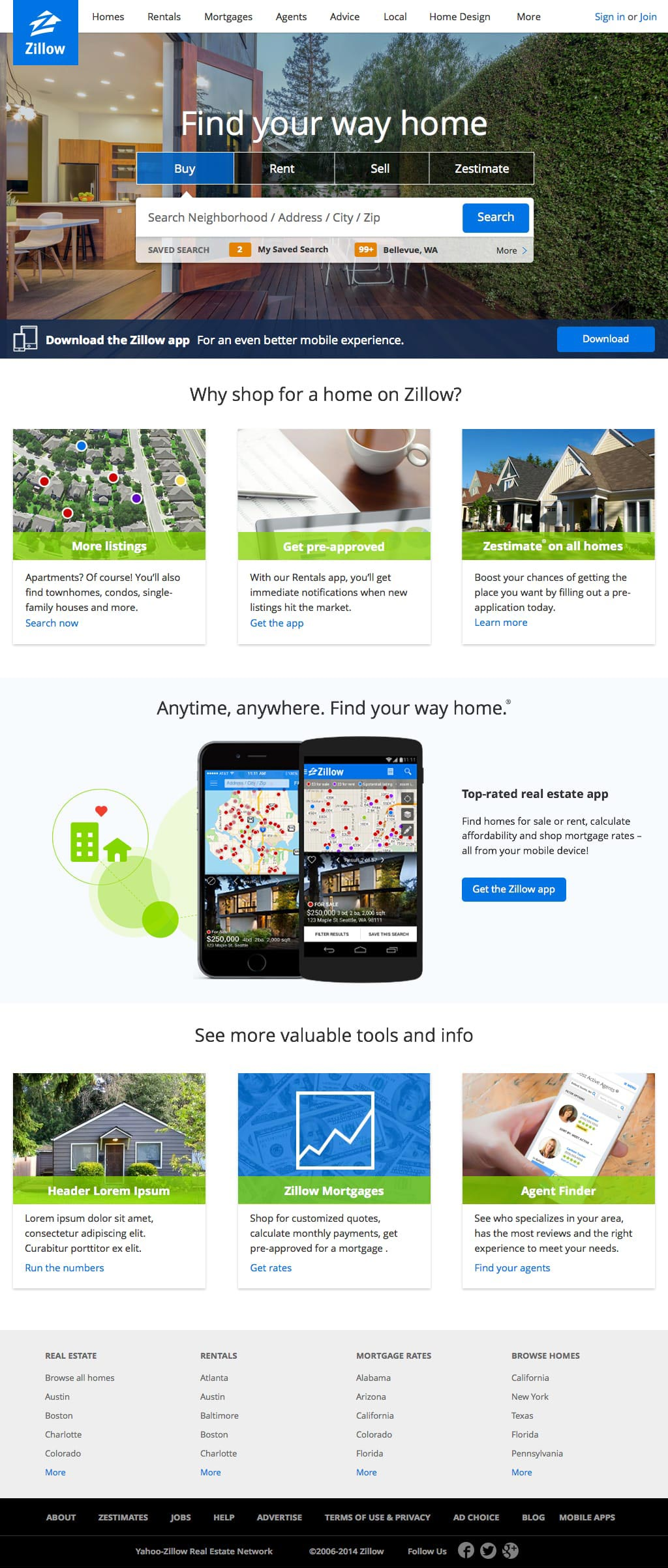 Zillow Homepage on chase mobile, instagram mobile, bank of america mobile,