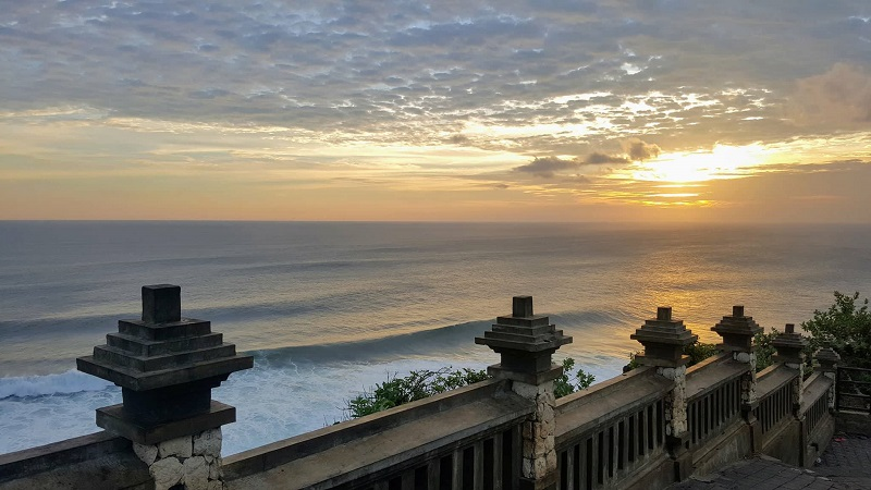 View of Uluwatu beach from Hindu temple