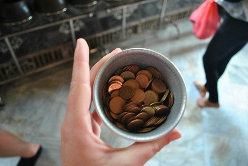 donation pot at wat pho