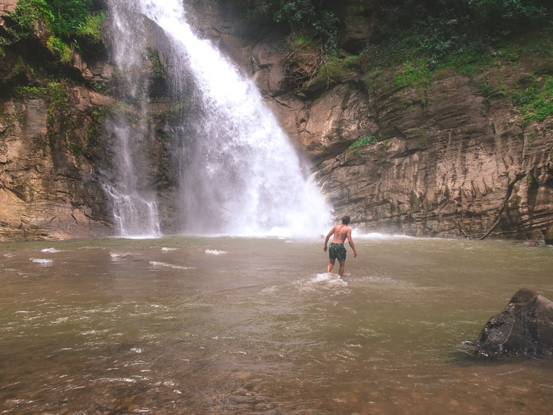 Swimming in Ellawala Waterfall