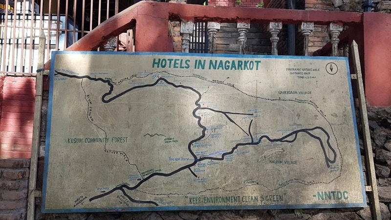 map of hiking trails in Nagarkot