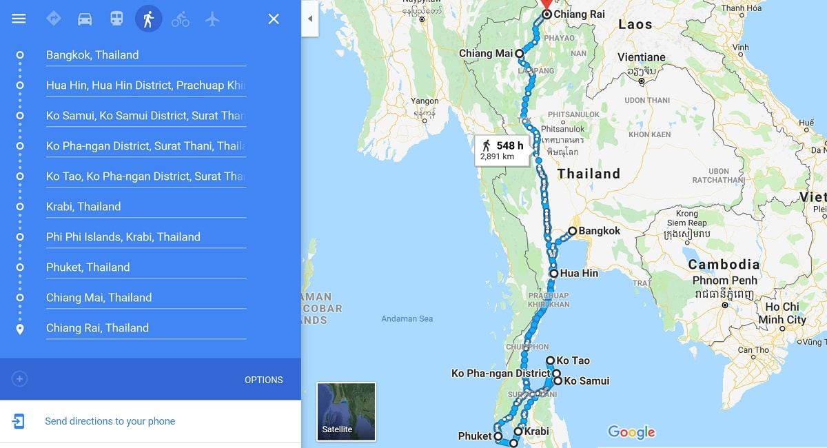thailand itinerary 3 weeks map