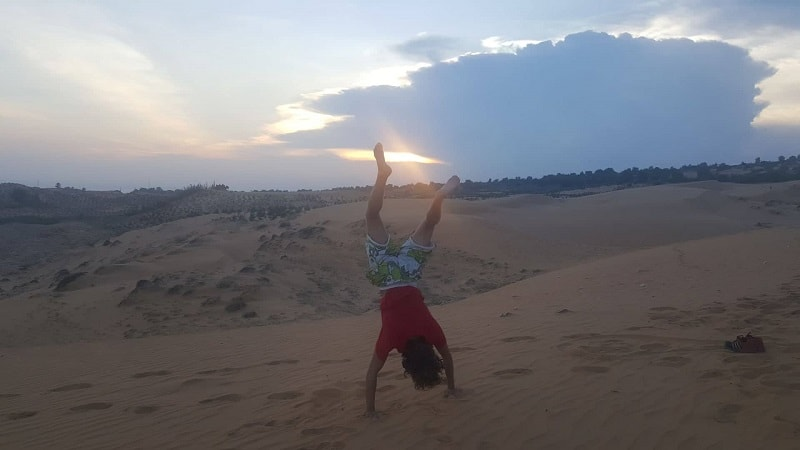 sunset at red sand dunes in mui ne