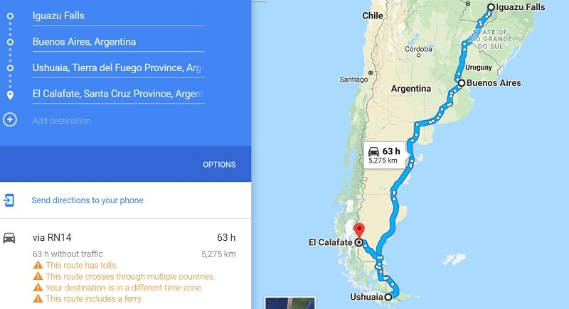 2 week Argentina backpacking route