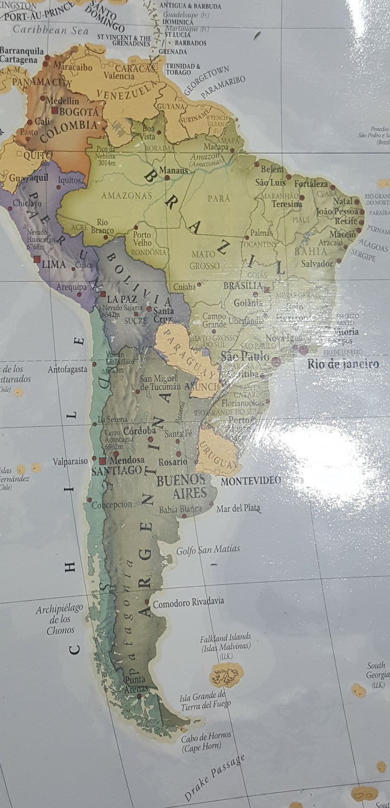 map of south america route
