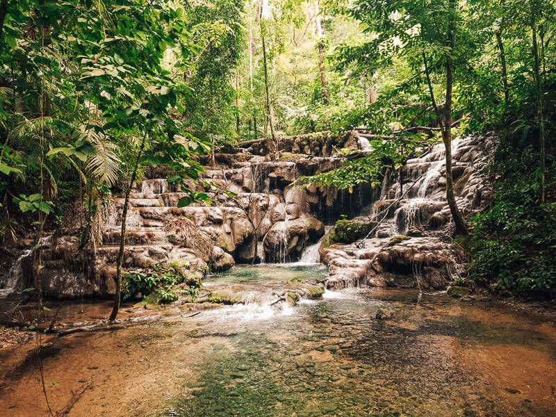 waterfalls at palenque ruins