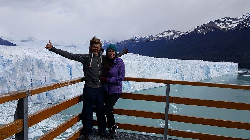selfie in front of perito moreno glacier