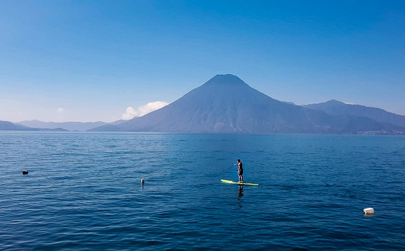 paddle boarding at lake atitlan