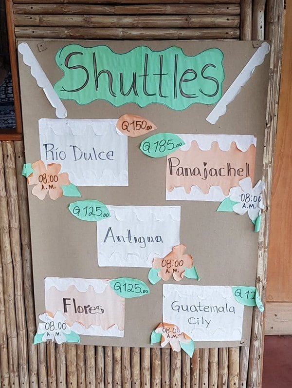prices for shuttles leaving Lanquin