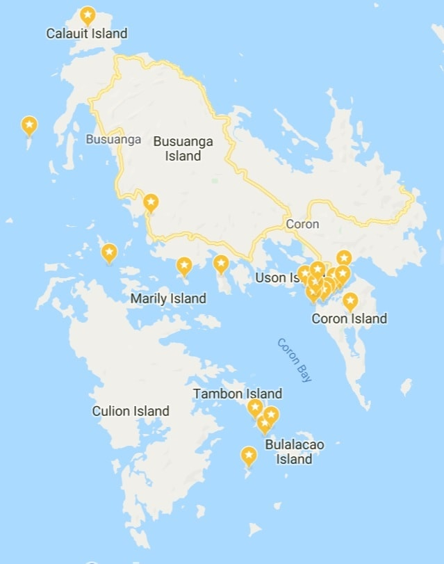Map of all the things to do around Coron and Coron Island