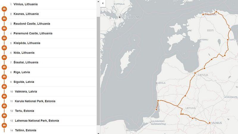 2 week route through Lithuania, Latvia and Estonia