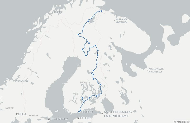 map of 3 week Finland route