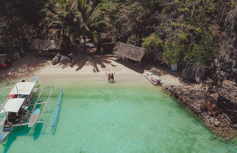 dream big travel far sign Coron beach