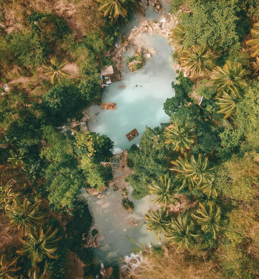 drone shot of cambuygahay falls in siquijor