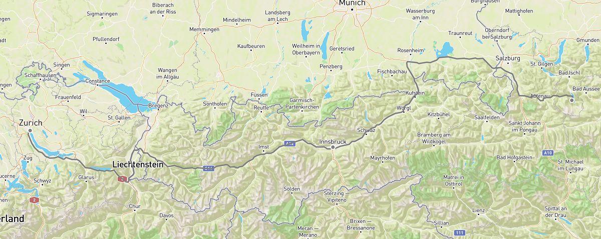 zurich to hallstatt road trip map