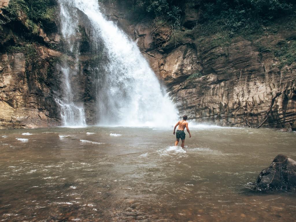 swimming in ellawella waterfall