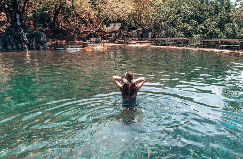 relaxing in manquit hot springs