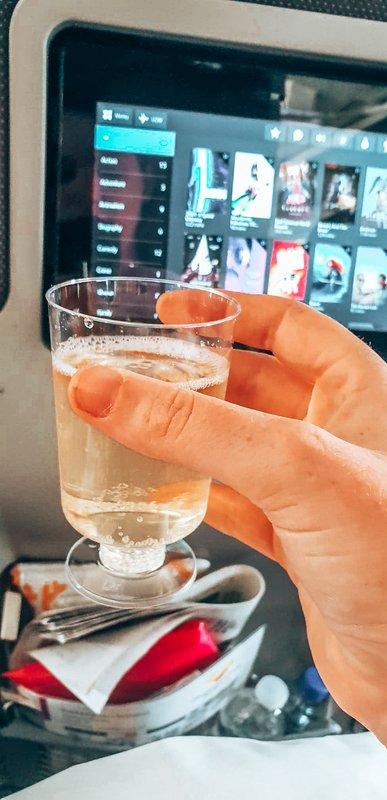 complimentary drinks on long haul flight
