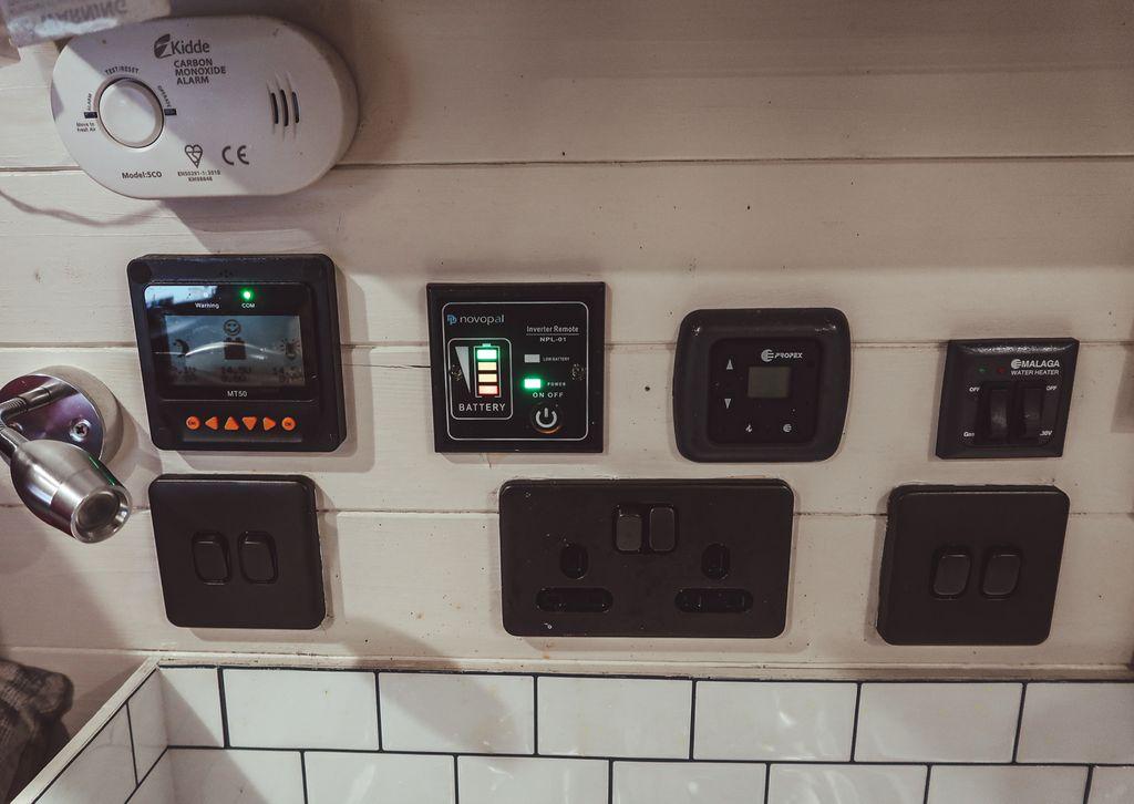 Campervan electrics control panel