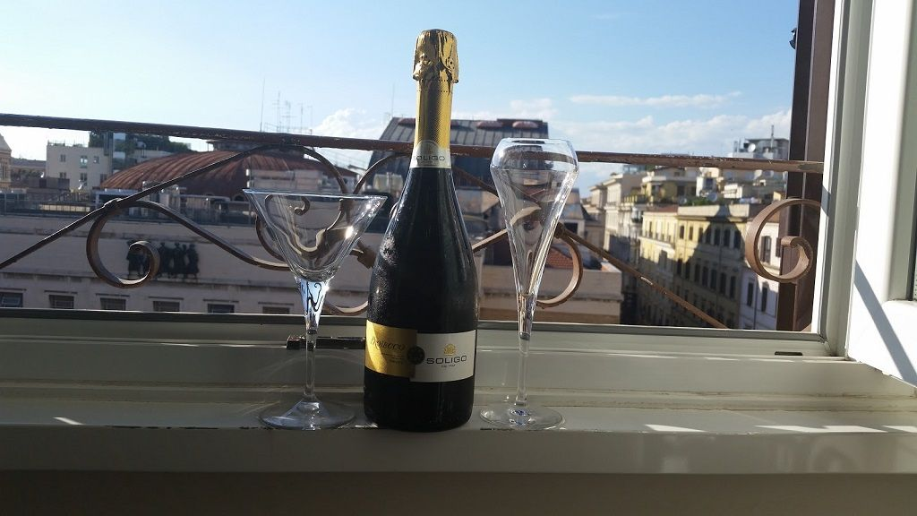 drinking budget champagne in Rome
