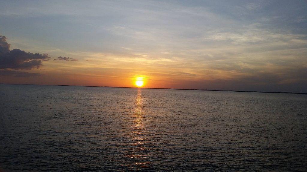 sunset over Aamzon cruise