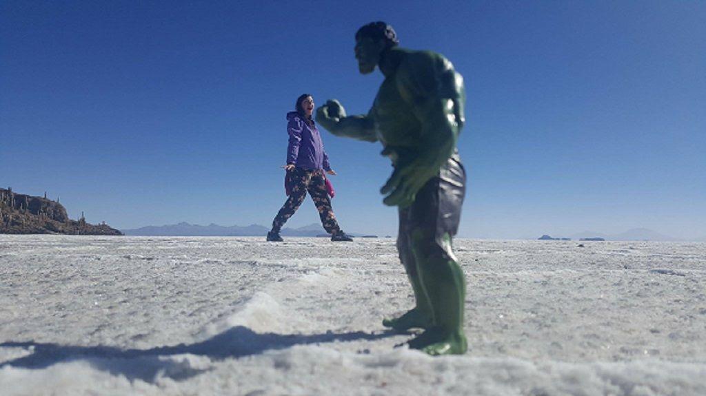 Fun on the Bolivian salt flats 1, South America