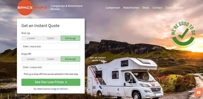 Spaceships campervan rentals Scotland