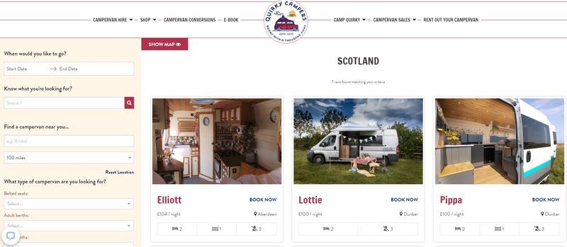 Quirky Campers rentals Scotland