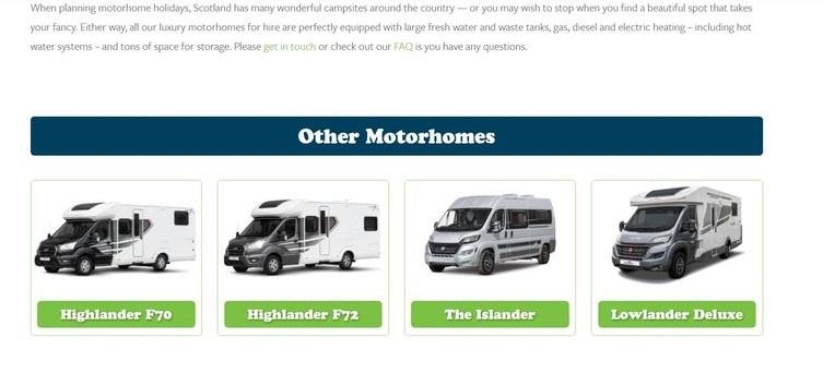 Open Road motorhome rental Scotland