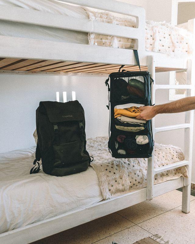 Shell backpack in hostel